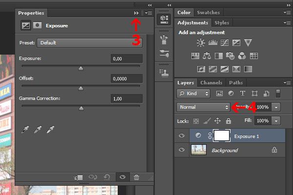 3) Нажмите здесь, чтобы закрыть панель свойств, если нужно посмотреть на фотографию. 4) Нажмите на выпадающее меню и поменяйте режим наложения (blend mode) на Multiply. После того, как мы это сделали, фотография стала темнее.
