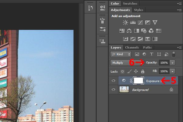 5) Теперь нажмите правой кнопкой мыши на слой Exposure 1 и выберите Duplicate layer, затем нажмите Ok. Таким образом мы сделали копию слоя Exposure 1. Фотография после этого стала еще темнее. 6) Нажмите на кнопку непрозрачность (Opacity) и перетащите ползунок влево, чтобы понизить непрозрачность верхнего слоя до тех пор, пока фотография не станет приемлемой выдержки. В данном случае непрозразность выставлена в значение 53%.