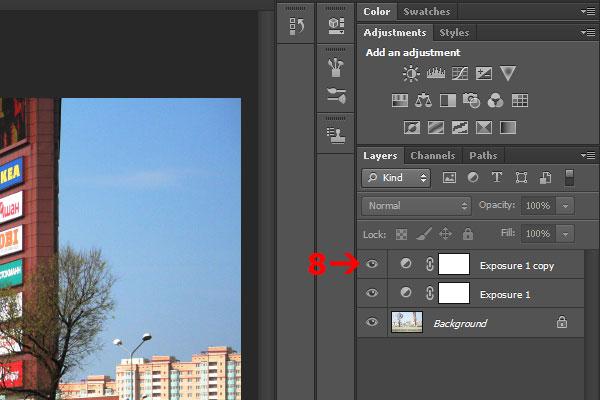 8) Нажмите иконку глаза, чтобы отключить временно видимость слоя Exposure, для сравнения результата.
