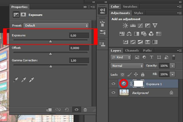Примечание: также вы можете два раза кликнуть на корректирующий слой Exposure, на кружок, и, таким образом, снова открыть панель свойств выдержки. Здесь, перетаскивая ползунок выдержки (Exposure), можно настроить выдержку фотографии.