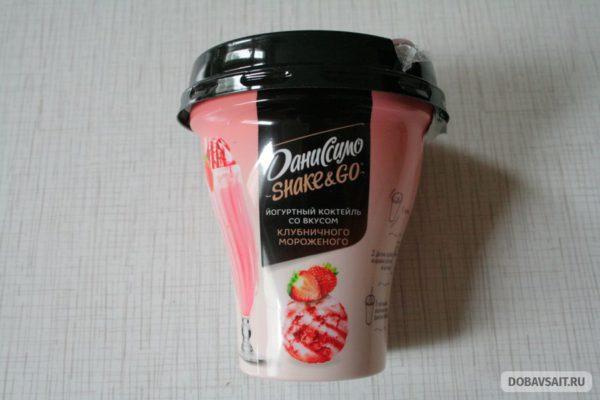 Йогуртный коктейль Shake&Go вкус клубничного мороженого от Даниссимо
